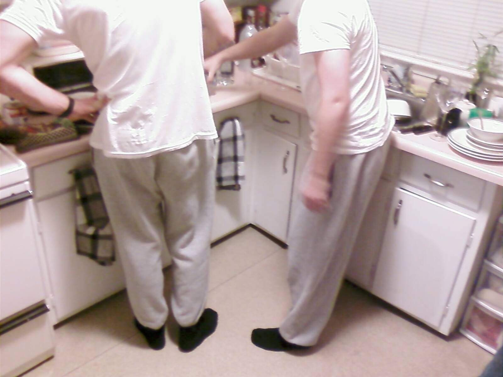 Nick and Doug matching sweatpants